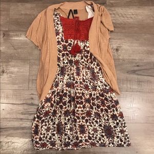 Adorable floral dress with cardigan